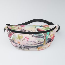 Watercolor birds with flowers Fanny Pack