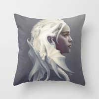 shipping Throw Pillows featuring Mother of Dragons by Artgerm™