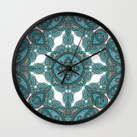paisley Wall Clocks featuring paisley by gtrappdesign