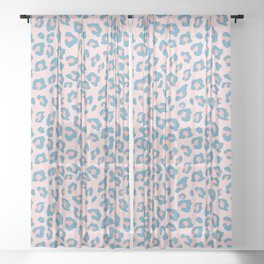 Leopard Print - Peachy Blue Sheer Curtain