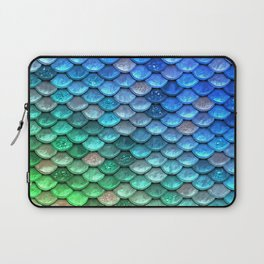 Aqua Teal & Green Shiny Mermaid Glitter Scales Laptop Sleeve