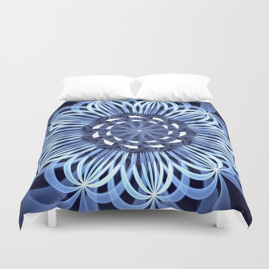 Sky blue fantasy pattern flower Duvet Cover