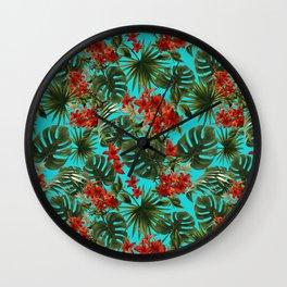 Aloha Flower Jungle Pattern Wall Clock