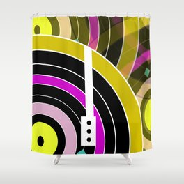 Bright retro records Shower Curtain
