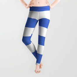 Han blue -  solid color - white stripes pattern Leggings