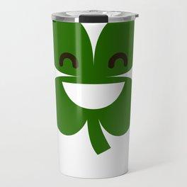 Clover Emoji Smiling St Patricks Day Irish Shamrock Travel Mug