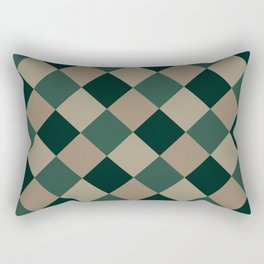 Brown green plaid Rectangular Pillow