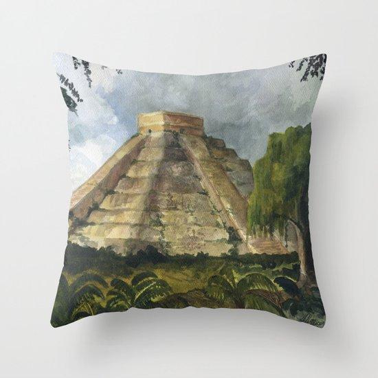 Mayan Pyramid Throw Pillow