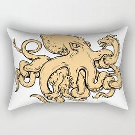 Giant Octopus Fighting Hydra Drawing Rectangular Pillow