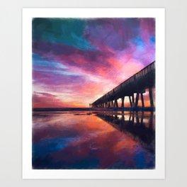 The Pier Sunset Art Print