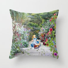 Alice and the White Rabbit in the Garden Throw Pillow