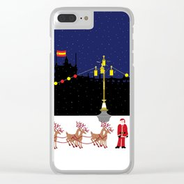 Santa in Madrid Clear iPhone Case