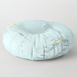 Vintage Southern Outer Banks Map (1957) Floor Pillow