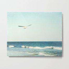 Seagull Bird Ocean Photography, Seagulls Beach Coastal, Aqua Blue Seascape Sea Metal Print