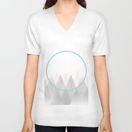 Minimal Abstract Graphic Mountains Circle Blue Pink Gray Unisex V-Neck