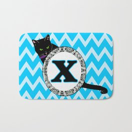 Letter X Cat Monogram Bath Mat