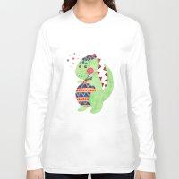 trex Long Sleeve T-shirts featuring Green Dino by haidishabrina