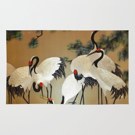 Colorful Painting of egrets Rug