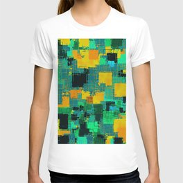 geometric square pattern abstract in green and yellow T-shirt