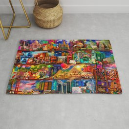 World Traveler Book Shelf Rug