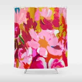 Abstracted Flower Painting in Hot Pink, red, spring green Shower Curtain