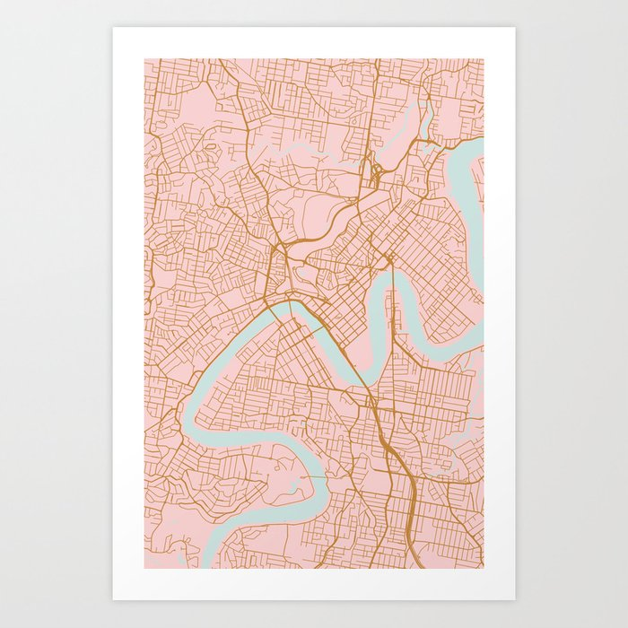 Pink and gold Brisbane map Kunstdrucke