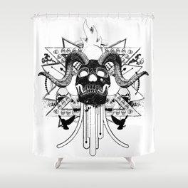 Rock Horned Skull Graphic  Shower Curtain
