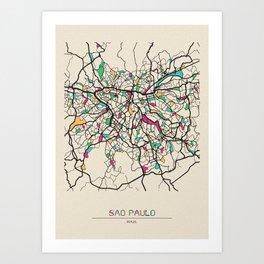 Colorful City Maps: Sao Paulo, Brazil Art Print