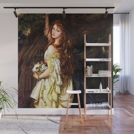 Classical Masterpiece: Ophelia (And He Will Not Come Back Again) by Arthur Hughes, circa 1865 Wall Mural