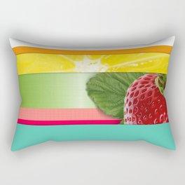 Bright Multicolor Stripes & Fruit Lemon Strawberry Rectangular Pillow