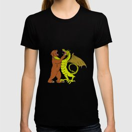 Chinese Dragon Fighting Grizzly Bear Drawing Color T-shirt