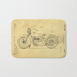 Motorcycle Support Patent Drawing From 1925 Bath Mat