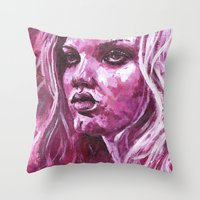 lindsay lohan Throw Pillows featuring Lindsay Wixson by .Esz