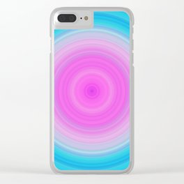 Pink & Aquamarine Circles Clear iPhone Case