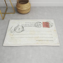 Vintage postcard with stamp sent from Chateau dun, France in early 1900s  Rug