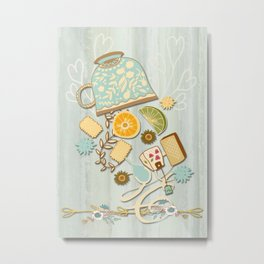 Time For Tea With Friends Series: Floral Tea 2 Metal Print