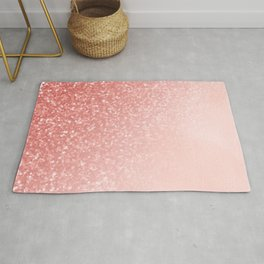 She Sparkles Deep Rose Gold Pastel Pink Luxe Geometric Rug