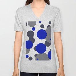 Bubbles blue grey- white design Unisex V-Neck
