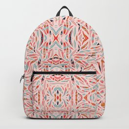 Boho Tile Abstraction / Coral and Blue Backpack