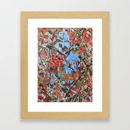 HAWTHORN BERRIES - Original abstract painting by HSIN LIN / HSIN LIN ART Framed Art Print