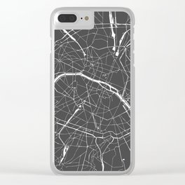 Paris France Minimal Street Map - Grey on White Clear iPhone Case
