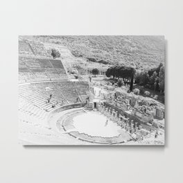Travel Escape | Arena Ruins Ephesus Black and White Stadium European Mountain Wilderness Landscape Metal Print