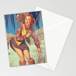 Fishing Girl Stationery Cards