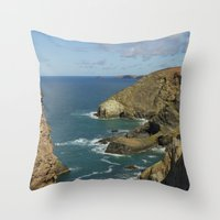 agnes cecile Throw Pillows featuring Cornish Seascape St Agnes  by Cornish Seascapes