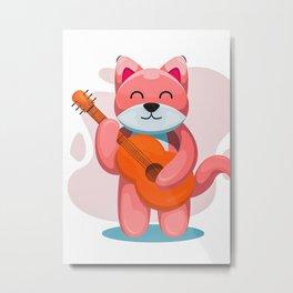 Cute Dog Play Guitar Metal Print