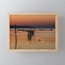 Fishing Nets in The Water Framed Mini Art Print