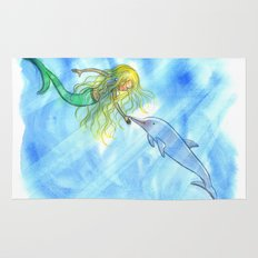 Mermaid and Dolphin - Nautical Ocean Art Rug