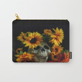 Skull and Flowers Carry-All Pouch