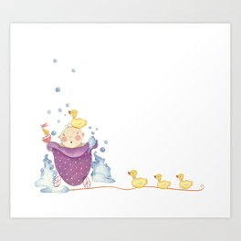 Baby bath Art Print