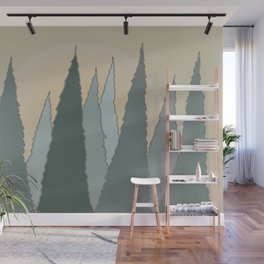 Evergreen Trees Rising in the Woods with the Sun Wall Mural